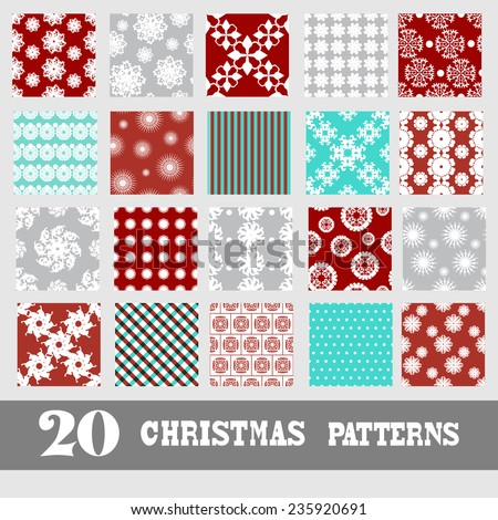 Elegant seamless patterns with decorative snowflakes, design elements. Can be used for christmas and new year invitations, greeting cards, scrapbooking, print, gift wrap, manufacturing - stock vector
