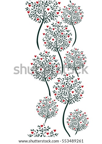 Elegant seamless vertical ornament with red hearts and summer trees. Vector illustration