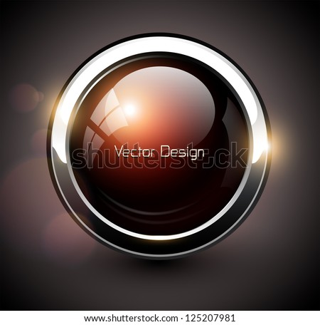 Elegant shiny button with metallic elements, vector design for website. - stock vector