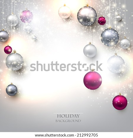 Elegant shiny Christmas background with baubles and place for text. Vector Illustration. - stock vector
