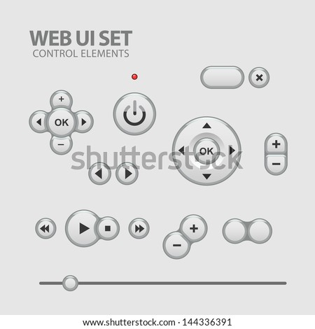 elegant Shiny Web UI Elements Design Gray. Elements: Buttons, Switchers, Slider - stock vector