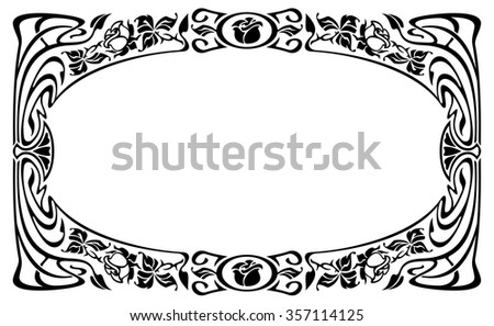 Elegant silhouette frame in art nouveau style - stock vector