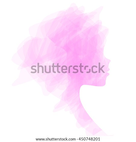 Elegant silhouette greeting card design with illustration of young girl. Fashion profile beauty salon. abstract girl hair. air design concept for beauty salon, spa, massage - stock vector