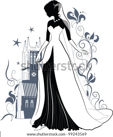 Elegant silhouette of a beautiful bride lifting the hem of a wedding dress. Castle of Gothic architecture on the background of stars and ornate flowers. For stylish and luxurious design. Isabel series - stock vector