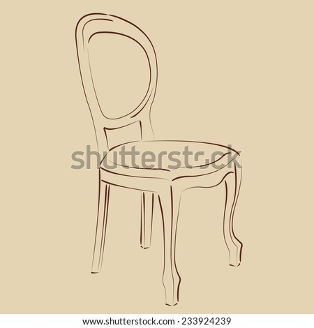 Elegant sketched chair. Harmonic colors. Background can be easily removed.