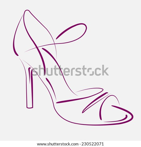 Elegant sketched woman's shoe for Argentine tango dancing. Background can be easily removed. Vector illustration. - stock vector