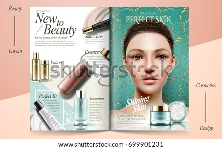 Elegant skin care brochure design, beauty fashion magazine or catalog with attractive model portrait and cosmetic products in 3d illustration