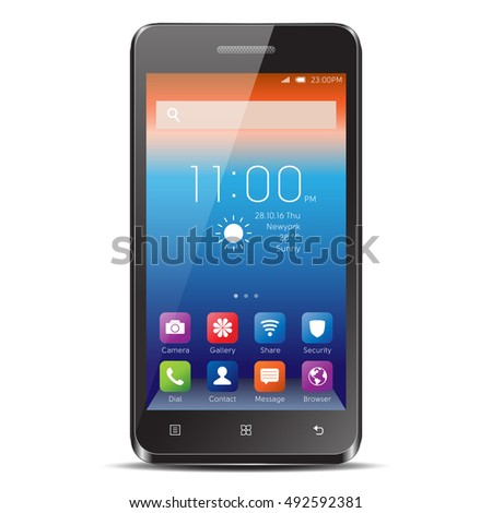 Elegant smartphone with colorful screen icons. Black mobile phone isolated, realistic vector illustration.