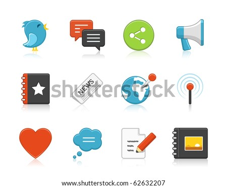 Elegant social networks icons. Reflections are easy to remove. - stock vector