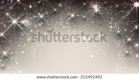 Elegant starry christmas banner with snowflakes and place for text. Vector Illustration. - stock vector