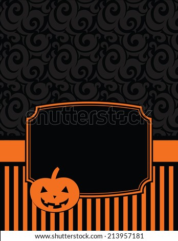 Elegant Striped Halloween Notecard with copy space-Halloween notecard to use for general announcements, seasonal baby showers, Halloween wishes or as a seasonal thank you card - stock vector