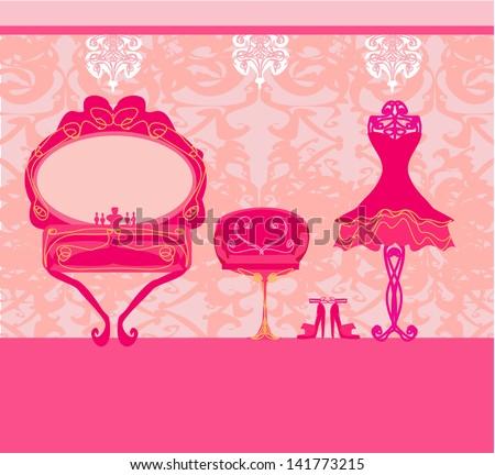 elegant style dressing room - stock vector