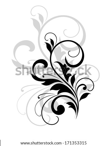 Elegant stylish scrolling foliate design element in black and white with a repeat in grey behind it - stock vector