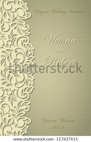 Elegant Stylish Wedding Invitation. Abstract floral-lace design - stock vector
