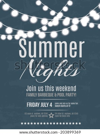 Elegant summer night party invitation flyer template - stock vector