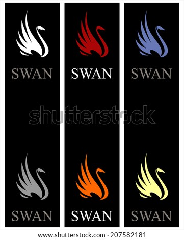 Elegant swans in various colors,  isolated on black background - stock vector