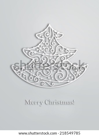 Elegant swirl Christmas tree with shadow. Eps10 vector card. - stock vector