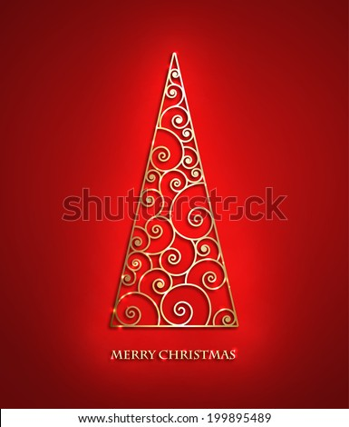 Elegant swirl metallic Christmas tree with shadow and shine. Eps10 vector card, Clean and Simple style. - stock vector