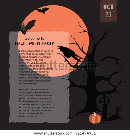 Elegant template for Halloween party invitation with raven, full moon, bats and pumpkin. Great for cards, party invitations, holiday design.  - stock vector