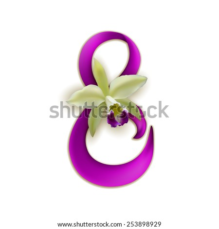 Elegant template for invitation, greeting, gift card, postcard with silk ribbon, orchid, place for text. Festive background for International woman's day. Vector illustration EPS 10. - stock vector