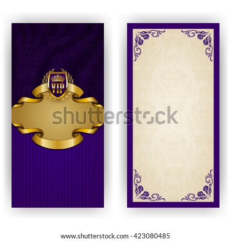 Elegant template for luxury invitation, gift, greeting card with lace ornament, crown, ribbon, laurel wreath, drapery fabric, place for text. Floral elements, ornate background. Illustration EPS 10. - stock vector