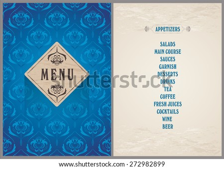 elegant template for the menu - luxury bright blue color pattern background on the folder and light beige color background for the page - stock vector