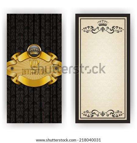 Elegant template luxury invitation, card with lace ornament, crown, place for text. Floral elements, ornate background. Vector illustration EPS 10 - stock vector