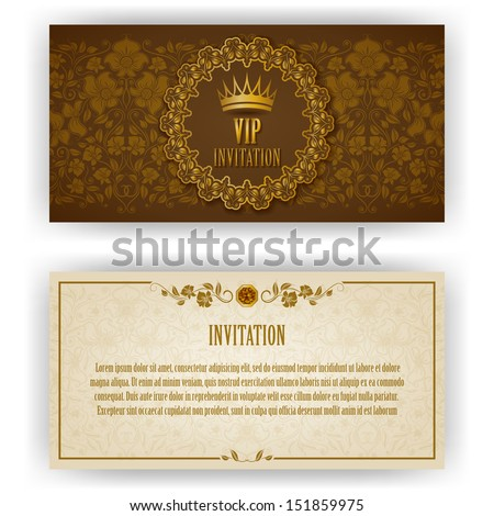 Elegant template luxury invitation, card with lace ornament, place for text. Floral elements, ornate background. Vector illustration EPS 10. - stock vector