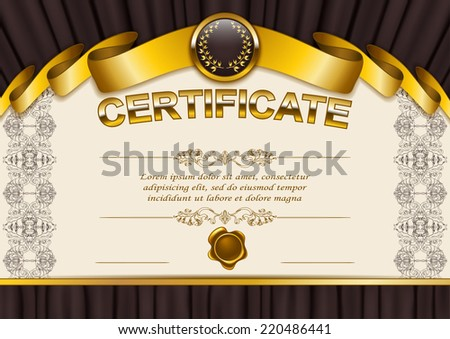 Elegant template of certificate, diploma with lace ornament, ribbon, wax seal, drapery fabric, place for text. Certificate of achievement, education, awards, winner. Vector illustration EPS 10. - stock vector