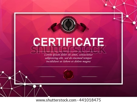 Elegant template of diploma with decoration of ribbon, wax seal, place for text. Certificate of achievement, education, award, winner in geometric graphic style. Vector illustration EPS10 - stock vector