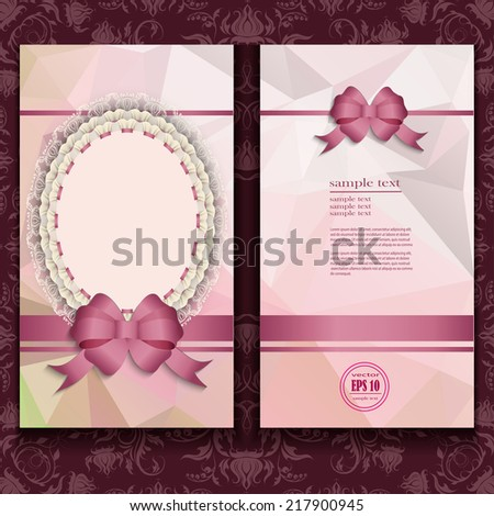 elegant templates of luxury invitation, gift card with lace ornament, bow, place for text. Floral elements, ornate background. Illustration. - stock vector