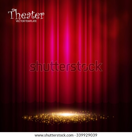 Elegant Theater & Concert Background with Stage Curtain & Shining Scene. Vector illustration - stock vector