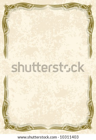 elegant thin frame with old-style background - stock vector