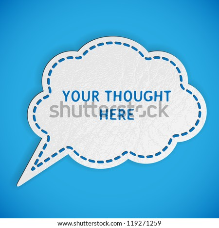 Elegant Thought Bubble with Leather Texture - stock vector