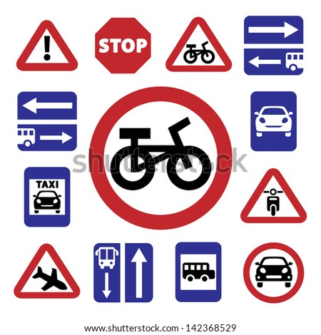 Elegant Traffic Signs Set Created For Mobile, Web And Applications. - stock vector