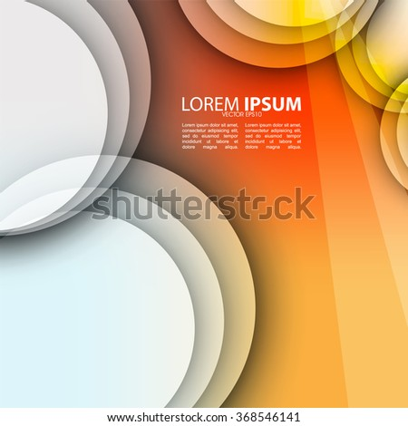 elegant transparent overlapping transparent round elements, clean vibrant colorful background - stock vector
