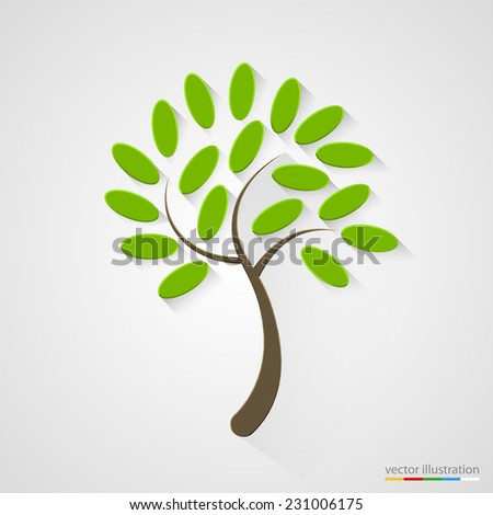 Elegant tree silhouette. Nature concept. Vector illustration - stock vector