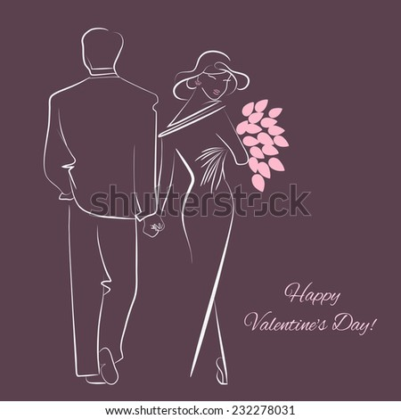 Elegant valentine's day card with silhouettes of loving couple - stock vector