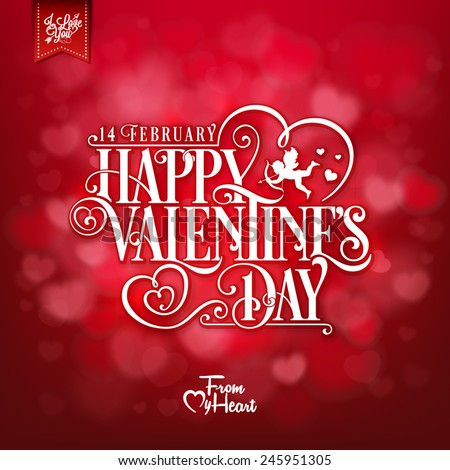 Elegant Valentines Day Card  - stock vector