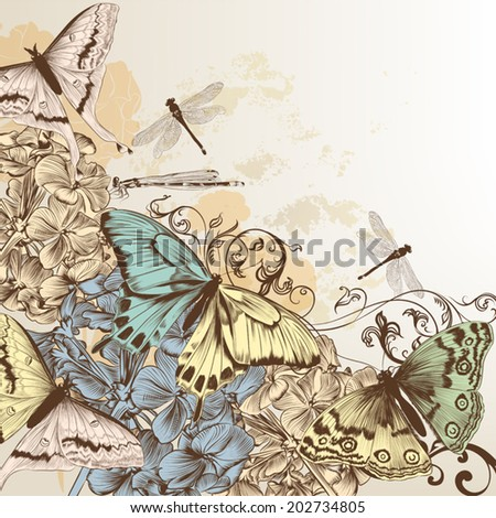 Elegant vector background with pastel butterflies and hand drawn flowers - stock vector