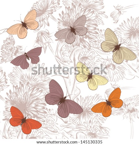 Elegant vector background with pastel butterflies and hand drawn purple flowers - stock vector
