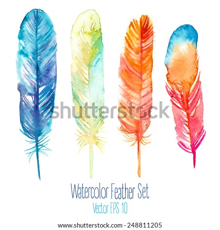 Elegant vector background with watercolor drawing feathers. - stock vector