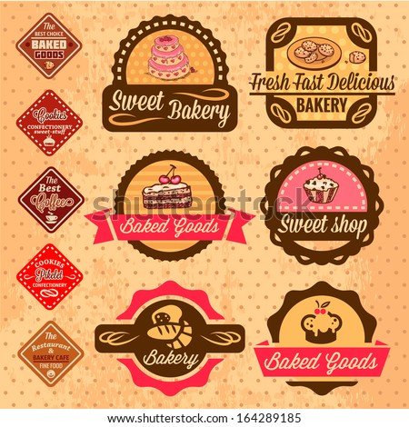 Elegant Vector Bakery Labels And Badges Set. All elements are grouped.