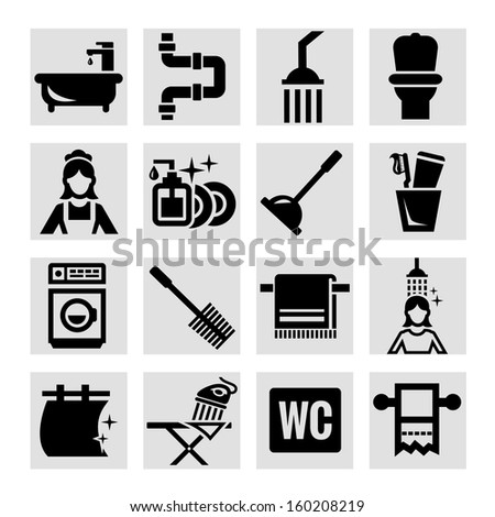 Elegant Vector Black Bathroom Icons Set. - stock vector