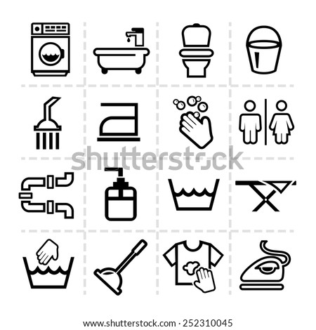 Elegant Vector Black Cleaning Line Icons Set - stock vector