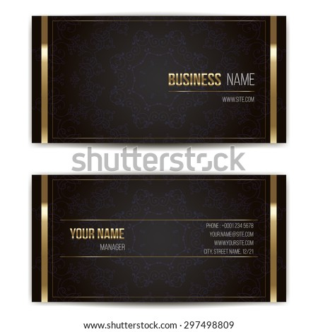 Elegant vector business card template. Vector format. Gold and dark colors. - stock vector