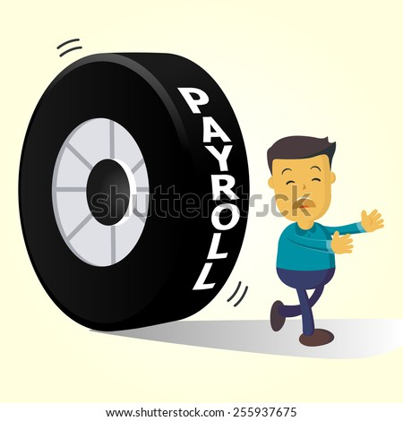 Elegant Vector Character Series | businessman people running away from payroll - stock vector