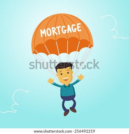 Elegant Vector Character Series | Businessman people waving hand jumping on parachute of mortgage - stock vector