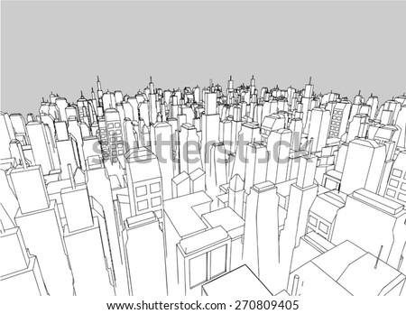 elegant vector city - stock vector