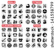 Elegant Vector Fitness, Health, Food And Cleaning Icons Set. - stock
